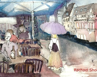 Street in the Rain Plein Air watercolor 11x14 giclee print,umbrella,Europe,impressionist,expressive,colorful,Austria,sketch,travel,art,gray