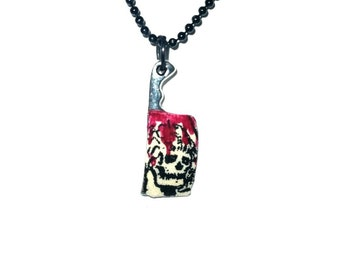 Comic covered cleaver necklace- Bloody!