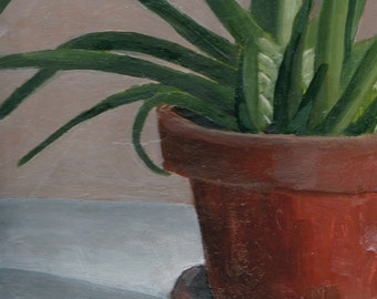 Original Painting, Small Still Life Painting of Aloe Plant, Art for Home Decor in Earth Color