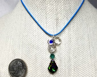 Handmade Wirewrapped Swarovski Pendant Necklace by FireHorse Designs of Texas