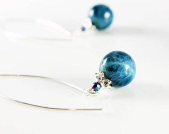 Blue Apatite Earrings, Sterling Silver, blue gemstone earrings, modern threader earrings, boho earrings, holiday gift for her, 2129