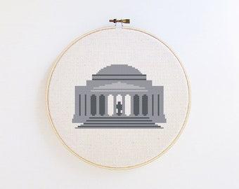 Washington DC - Jefferson Memorial modern cross stitch pattern PDF - Instant download