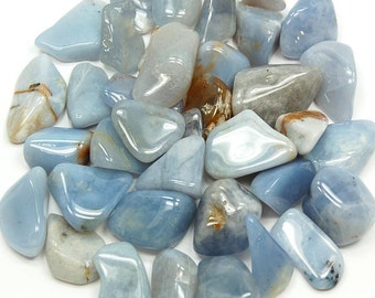 High quality tumbled Blue Chalcedony.  All pieces hand picked!