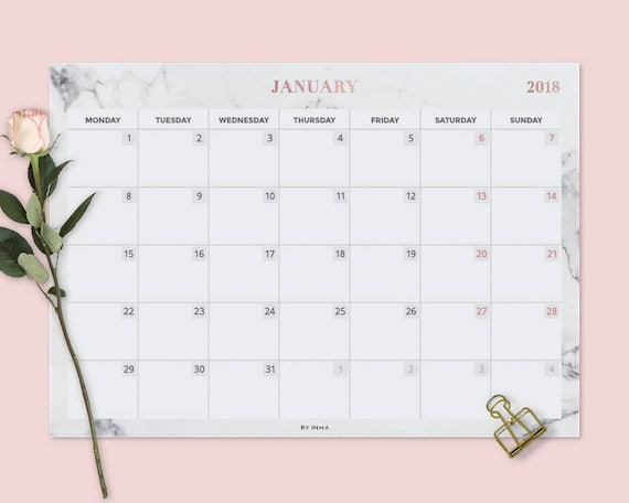 Wall Calendar 2018 Desk Pad Printable Desk Calendar 2018