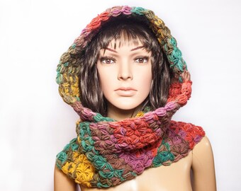 Hooded Scarf, Chunky hooded scarf, Scoodie Scarf, Knit scoodie by LoveKnittings | 3368