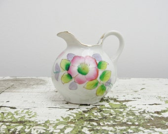 Vintage Cream pitcher with pink and purple flowers Made in Japan
