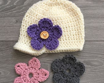 Ready to Ship - Cream Crochet Hat with Brim & 3 Interchangeable Flowers - 6-12 Month Size