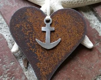 Mixed metal Heart Anchor Custom ornament Recycled metal Love Nautical Decor Coastal Military Love