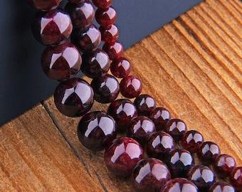 "Natural Garnet Beads , Gemstone Beads , Round Garnet Beads , Smooth Gemstone Beads , Genuine Garnet Stone (size 6/8/10/12mm)  15.5"" Strand"