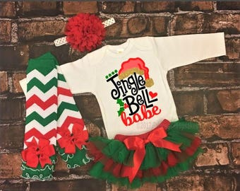Baby Girls Christmas, Jingle Bell Babe, First Holiday Outfit, Free Personalization, Newborn holiday Outfit, baby shower gift