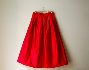 Red Maxi Skirt Silk High Waist Mini Midi Party Evening Skirt with Pockets, Bridesmaids Skirt, Customize color and length, Plus sizes