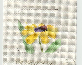 Yellow Flower Hand Painted on 18 ct Needlepoint Mono Canvas - The Workshop TE14 Daisy Flower