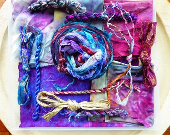 Hope Jacare Creative Textiles Hand dyed silk fabric, thread and recy. sari ribbon pack  - Large 11