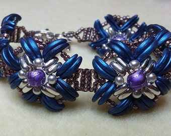 Large blue and silver beaded bracelet