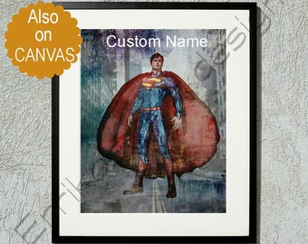 Superman Art Print, Superherman Poster, Superman Wall Art, Superheroes Nursery, DC Comics, Custom Name, Superman painting, Superheroes art