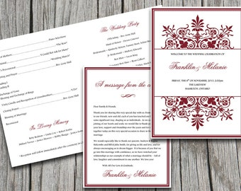"Fold Over Wedding Program Template - Snowflake Wedding Program ""Regency"" Burgundy Red 