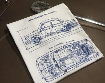 Classic Volkswagen Notchback Blueprint T-shirt.  Full front print on a 100% cotton preshrunk Tee. White shirt, navy blue print.
