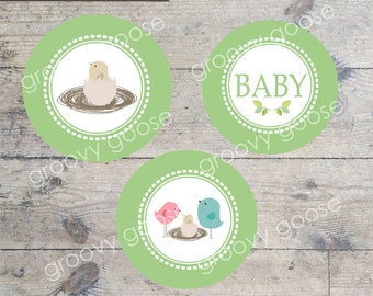 BABY SHOWER Bird Nest GREEN cupcake toppers Printable Envelope Seals