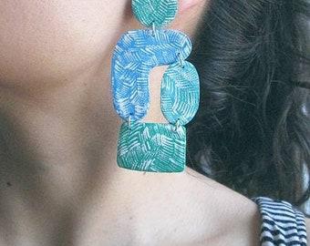 Statement earrings, geometrique earrings, textile earrings, big earrins, blue earrings, green earrings