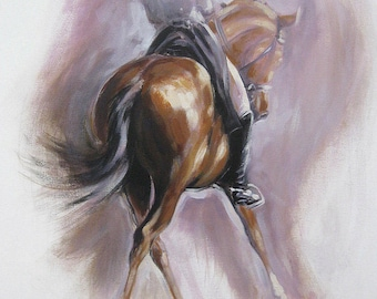 Original dressage acrylic painting equine art horse art wall art 'Dance IV' impressionism painting horse lover gift by H Irvine