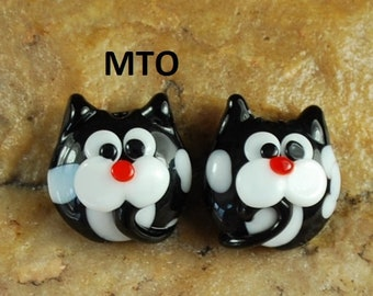 Lampwork Beads, Glass Beads, Made To Order, Black & White Kitty, Cat, Earring Beads SRA #126 by CC Design