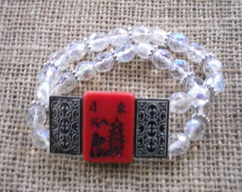 Mahjong cadeau - Bracelet gratuit envoi - Mahjong - Mahjong - cadeau idée - Bracelet Oriental - Mahjong tuile