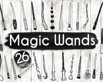 Magic Wands Clipart - Hand Drawn Halloween Clip art - Halloween Digital Paper - Halloween Elements - Wand Illustration - ACGABW31