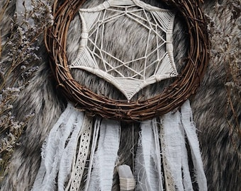 Rustic Dream catcher - Crystal Wallhanging - Boho DreamCatcher - Gypsy Decor - Boho Chic - Wall Hanging -