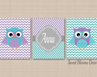 Owl Nursery Decor,Teal Purple Nursery Wall Art,Owl Nursery Wall Art,Lavender Teal Nursery,Purple Aqua Owl Art,Chevron Owl Nursery Decor C235