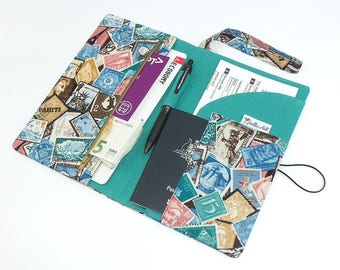 """Deluxe Solo Travel Wallet for one passport & travel documents holder in """"World Stamps"""" by Joella Hill Australian Seller"""