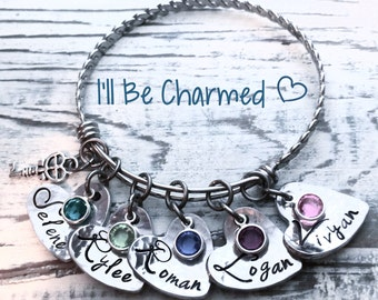 Hand Stamped, Name Bracelet, Stamped, Personalized Bracelet, Heart Jewelry, Birthstone Jewelry, Name Jewelry, Gifts For Mom, Bangle Bracelet