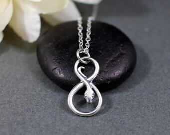Sterling Silver Infinity Snake Necklace | Infinity Necklace | Snake Necklace | Infinity Snake Charm Necklace | Snake Jewelry