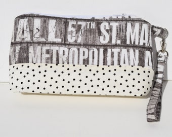 Handmade Wristlet with Removable Strap - Gray Subway Stop, Off-White Polka Dot & Wine Colored Interior Wristlet with Zipper Closure