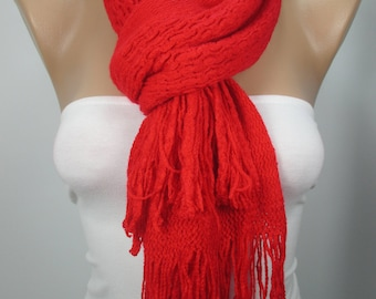 Knitted Scarf Red Cowl Scarf Cozy Scarf Women Fashion Accessories Gift Ideas  Christmas Gift Holiday Gift For Her Neck Warmer