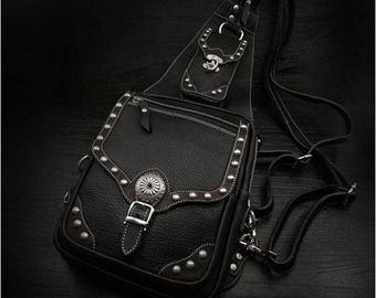 Leather Backpack, iPad Case with Concho K05C10