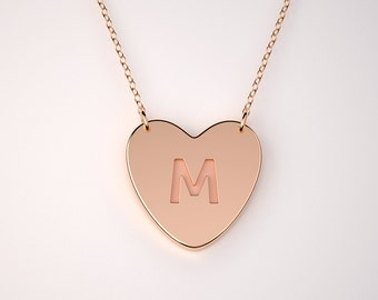 Custom Floating Heart necklace - 14k, 18k Gold including rose and white Gold and Platinum