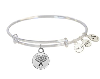 Tennis Racquet Bangle with Crystal- Silver or Gold
