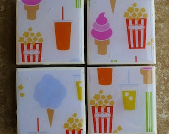Set of 4 Resin Tile Magnets - Carnival - Cotton Candy - Popcorn - Ice Cream