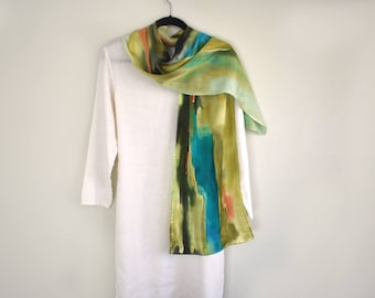 Silk Charmeuse Scarf, Hand-Painted, Abstract Design, Olive Greens, Long Scarf