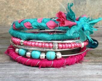 Boho Bracelet Stack - Turquoise & Pink