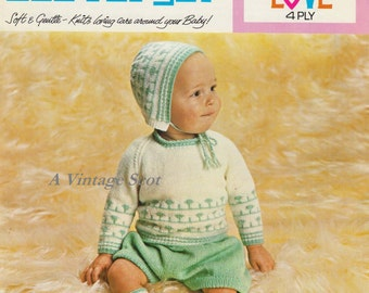 Baby 4ply Jumper Shorts Hat and Socks in Sizes 18 - 20 ins  -Lister 972 - PDF of Vintage  Knitting Pattern
