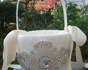 Wedding Flower Basket, Flower Girl Basket, Rhinestone Flower Basket  - Style BK1001