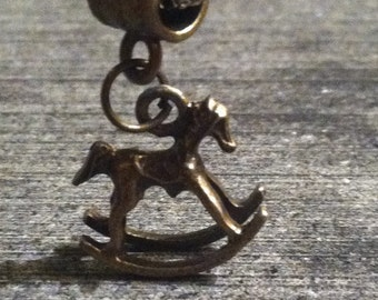 Bronze 3D Rocking Horse Dangle Charm fits European Style Charm Bracelet Horses Childhood (ID EuDC-4)