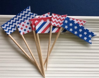 Memorial Day / Patriotic / Red White and Blue / food picks / cupcake toppers / set of 24