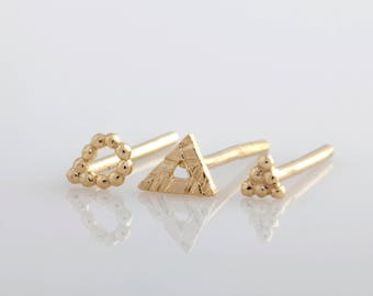 Gold Earring Set, Post Earrings, Tiny Earrings, Gold Stud Earrings, Tiny Gold Earrings, Small Stud Earrings, 14k Earrings, Stud Earring Set