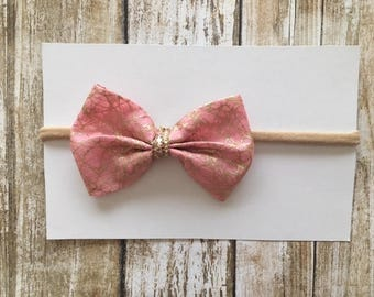 Pink and gold bow/infant bow/pink bow/toddler bows/gold bow/bow headband