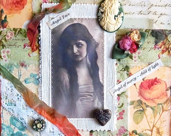 Angel Mixed Media Collage - Angel  Child of Light