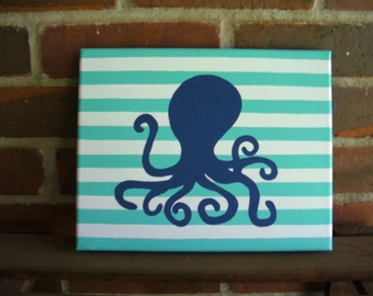 Hand Painted Nursery Art, Octopus with Stripes