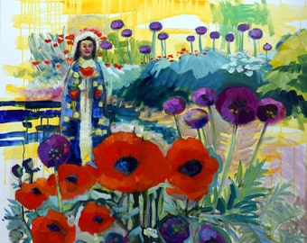 "Sale ! ""Radiant Woman 13 Poppy Saint"" Plein Air Oil Impressionist Expressionist Poppies Allium"