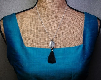 Solid 925 Sterling Silver Hammer Textured Pendant with Tassel Necklace